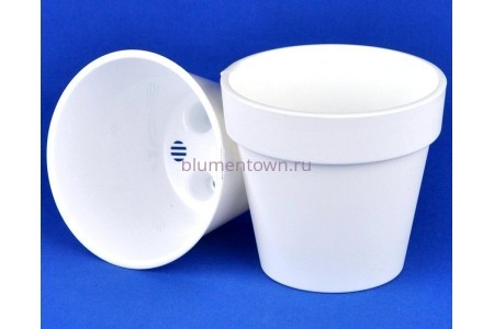 Кашпо без поддона пластиковое двойное Протея 1,4л (белый-белый)
