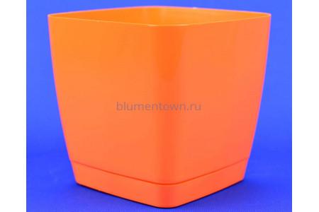 Горшок для цветов пластиковый с поддоном Toscana квадр. 3,7л с под.(ярк.оранж) (0733-003)