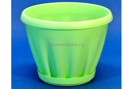 Горшок для цветов пластиковый с поддоном Знатный 3,9л (зеленый)
