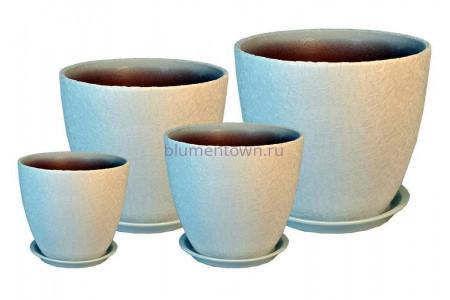 Горшки для цветов керамические в комплекте «ВН 02 Бутон ВИНИЛ белый» из 4-х