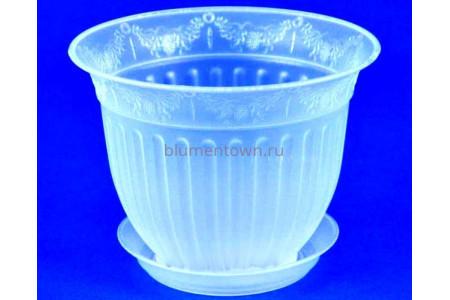 Горшок для цветов пластиковый с поддоном Виноград с под.13 (прозр) 13-П