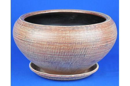 Горшок для цветов керамический с поддоном Бонсай 1 (беж) 2-101  4-01