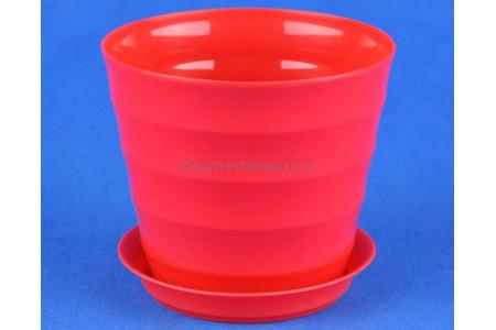 Горшок для цветов пластиковый с поддоном Лаура 0,7л (красное)