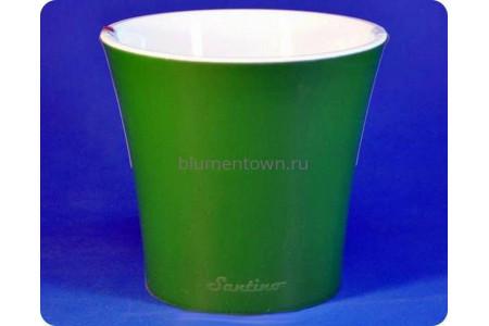 Кашпо пластиковое без поддона и дренажного отверстия «АРТЕ 0,6л (зеленый-белый)»