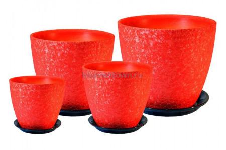 Горшки для цветов керамические в комплекте «ВН 03 Бутон ВИНИЛ красный» из 4-х