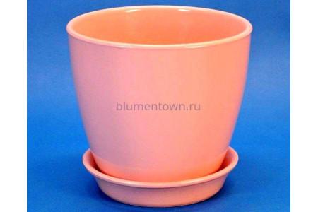 Горшок для цветов керамический с поддоном Виктория КП (13см) коралловый