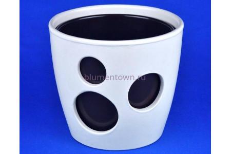 Кашпо керамическое двойное «ВК из 2-х КП (20-18см) бежевый-шоколад»