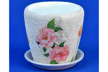 Горшок для цветов керамический с поддоном Флоренция d12/h12см (NK0402)