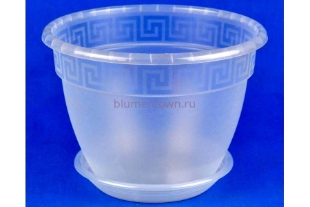 Горшок для цветов пластиковый Антик с под.19 (прозр) 0470