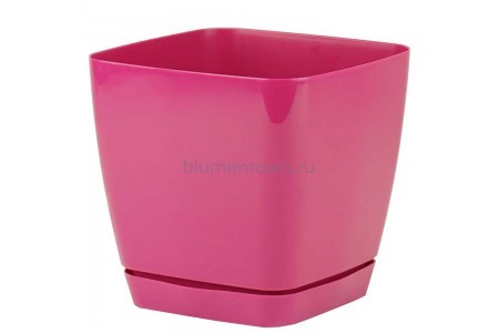 Горшок для цветов пластиковый с поддоном Toscana квадр. 2,5л с под.(ягодное) (0732-043)
