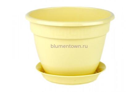 Горшок для цветов пластиковый с поддоном Антик с под.13 (крем) 0650