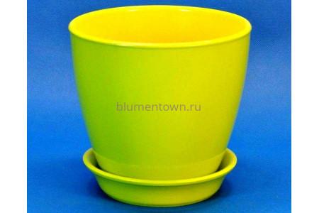 Горшок для цветов керамический с поддоном Виктория КП (13см) грушевый
