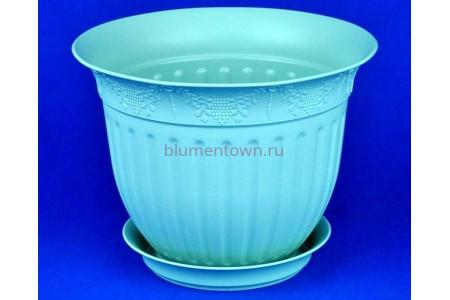 Горшок для цветов пластиковый с поддоном Виноград 22 (мята) 22-М