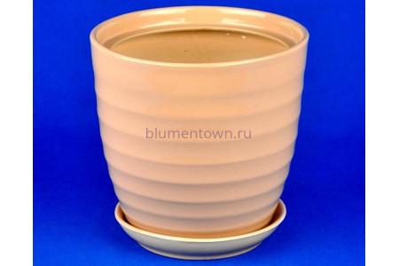 Горшок для цветов керамический с поддоном Кольца №4 d19см (беж)