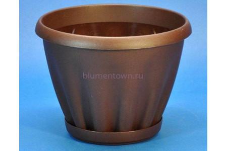 Горшок для цветов пластиковый с поддоном Знатный 0,45л (шоколад)