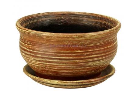 Горшок для цветов керамический с поддоном «Фиалочница №1 коричневый» 19см 3-09 32-109