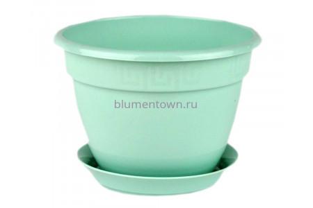 Горшок для цветов пластиковый с поддоном Антик с под.13 (мята) 0654