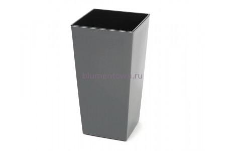 Кашпо со вставкой пластиковое без поддона и дренажного отверстия Finezja 40x40x75см  (антрацит) 548-82