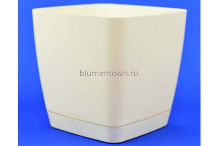 Горшок для цветов пластиковый с поддоном Toscana квадр. 3,7л с под.(крем) (0733-001)