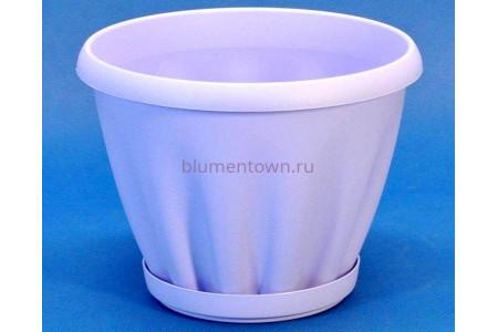 Горшок для цветов пластиковый с поддоном Знатный 1л (сирень)