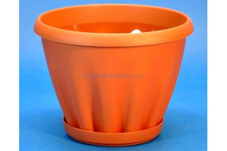 Горшок для цветов пластиковый с поддоном Знатный 1л (терракотовый)