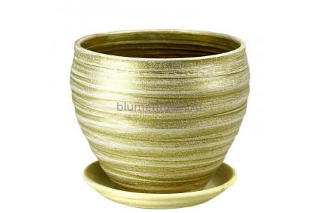 Горшок для цветов керамический с поддоном Классика св.оливка 19см 32-98  3-24