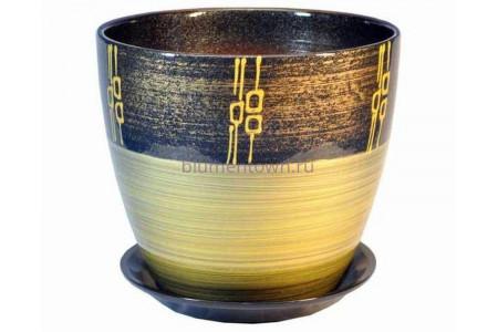 """Горшок для цветов керамический с поддоном """"Бутон"""" 15см Ритм бронза ЕВ 16/2"""