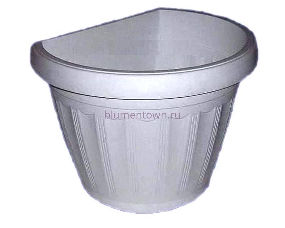 """Кашпо настенное пластиковое """"Терра настенное   27(бел)"""""""