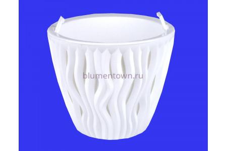 Кашпо пластиковое двойное без поддона и дренажного отверстия Вдохновение 2,25л (бел-бел) КШ5738