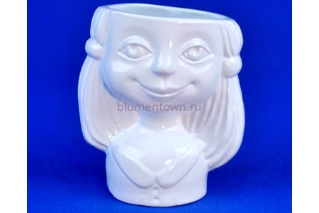 Кашпо керамическое Девочка (0101) бел. ГЛ0101