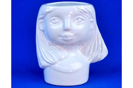 Кашпо керамическое Девочка (0301) бел. ГЛ0301