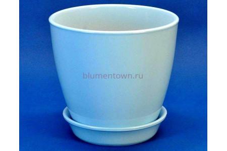 Горшок для цветов керамический с поддоном Виктория КП (13см) голубой