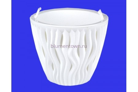 Кашпо пластиковое двойное без поддона и дренажного отверстия Вдохновение 1,6л (бел-бел) КШ5737