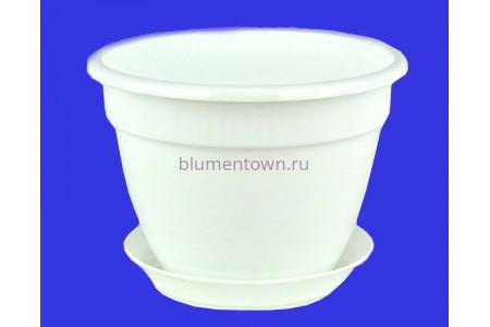 Горшок для цветов пластиковый с поддоном Антик с под.13 (белый) 0646