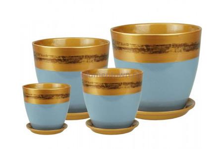 Горшки для цветов керамические в наборе Бутон Валенсия сер. РС119 кмпт из 4-х