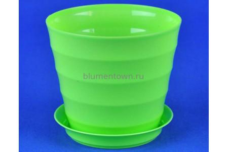 Горшок для цветов пластиковый Лаура с под. 0,7л (лайм) ЛР1150