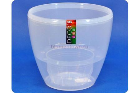 Кашпо пластиковое с двойным дном DECO TWIN 4л (прозрачный) э 236