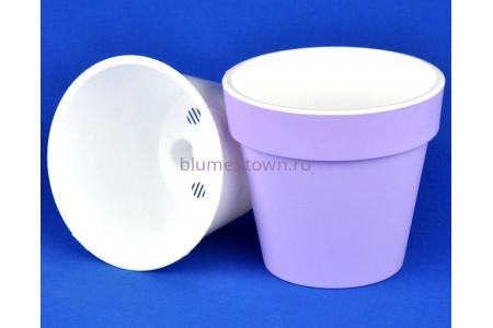 Кашпо без поддона пластиковое двойное Протея 3,7л (лаванда-белый)
