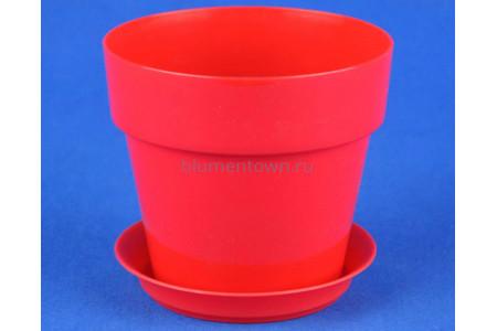Горшок для цветов пластиковый с поддоном Протея 0,7л с под. (красное)