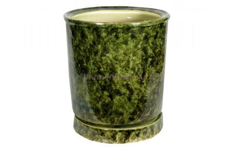 Горшок для цветов керамический с поддоном «Вазон №7» зелёный 35л