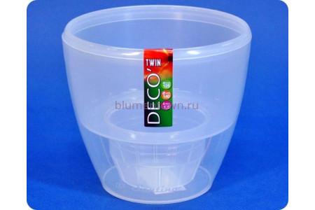 Кашпо пластиковое двойное DECO TWIN 2,5л (прозр) э 597