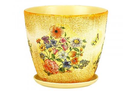 Горшок для цветов керамический с поддоном Бутон Декупаж (101) 12см  ДК101/1