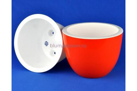Кашпо для цветов пластиковое двойное без поддона и дренажного отверстия Орион 3,5л (оранж) 044