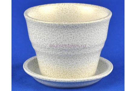 Горшок для цветов керамический с поддоном Колибри бел/зол.10,5см ГЛ807/1