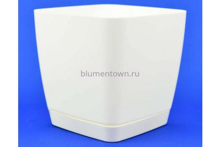 Горшок для цветов пластиковый с поддоном Toscana квадр. 3,7л с под.(бел) (0733-011)