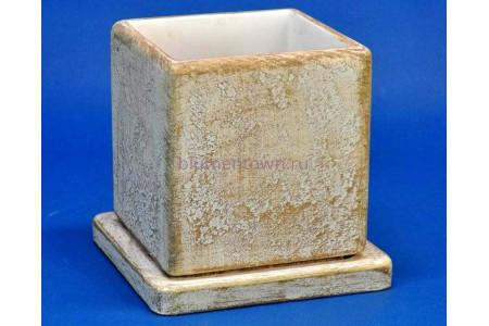Горшок для цветов керамический с поддоном Кубик 12х12х13см (свет.корич) NK04/1