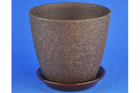 Горшок для цветов керамический с поддоном Винил шоколад 18см ВН 04/3