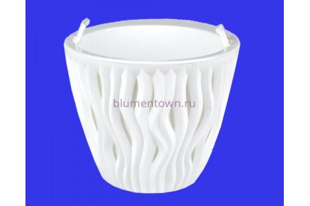 Кашпо пластиковое двойное без поддона и дренажного отверстия Вдохновение 3л (бел-бел) КШ5739