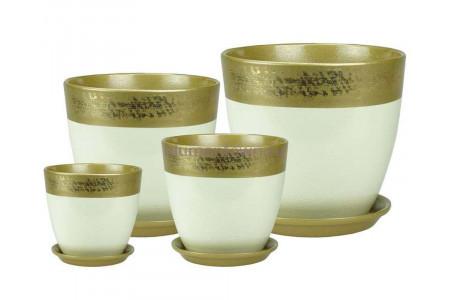 Горшки для цветов керамические в наборе Бутон Валенсия оливка РС125 кмпт из 4-х