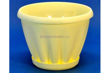 Горшок для цветов пластиковый с поддоном Знатный 0,45л (желтый)